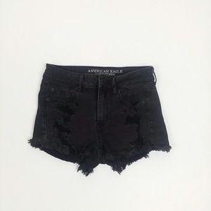 American Eagle hi rise shortie distressed shorts